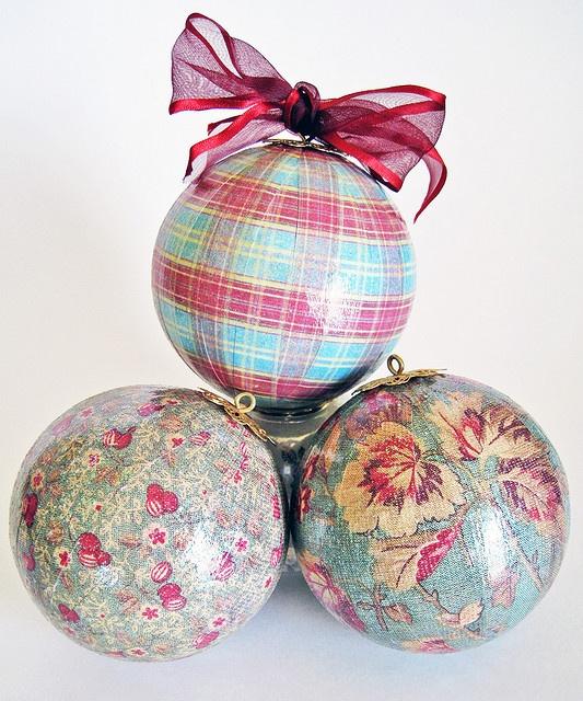 Decoupaged papier mache ornaments