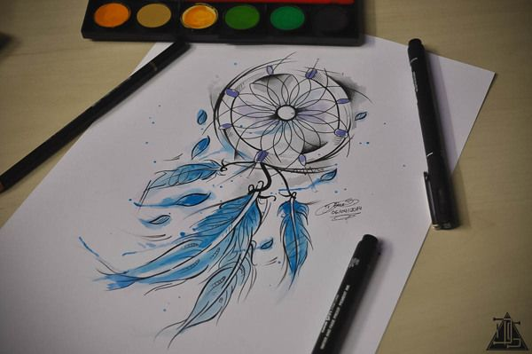 watercolor dreamcatcher tattoo