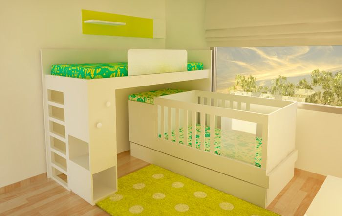 Cama alta de 1 plaza y cuna para bebes con cambiador for Futon cama 1 plaza y media