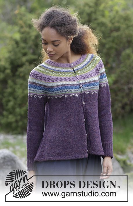Knitted jacket with round yoke, multi-colored Norwegian pattern and A-shape, worked top down. Sizes S - XXXL. The piece is worked in DROPS Alpaca.