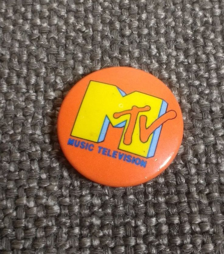 "MTV MUSIC TELEVISION Authentic BUTTON  PINBACK PIN 80s orange 1.25"" Free Shiping"