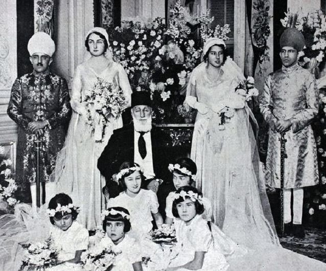 Rare photo of Abdülmecit, the last of the Ottoman Caliphs, becoming the new head of the Imperial House of Osman as Abdülmecid II before the Caliphate was abolished by the Turkish Grand National Assembly in 1924.sultans.  This picture was taken at the engagement ceremony of his daughter  Dürrüşehvar and his niece Nilüfer Hanım' in 1931; the bridegrooms-to-be are sons of the last Nizam of the Hyderabad State (which explains their Indian-style costumes).