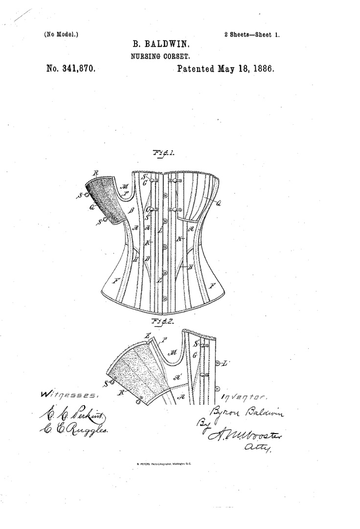 1886 Nursing corset  US patent 341,870  Fig 1&2 midbust