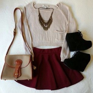 Sweater & skirt for fall but longer.
