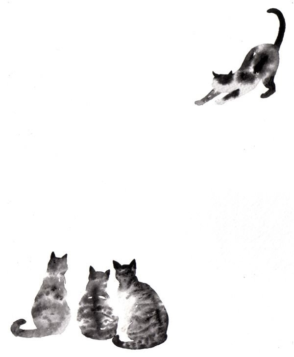 Sumi-e cats (Japanese Ink, painting)...