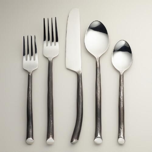 Twig Flatware Collection l A perfect choice that's easy to dress up for formal affairs and dress down for casual ones, each piece in this modern collection features a handle designed to resemble a twig.
