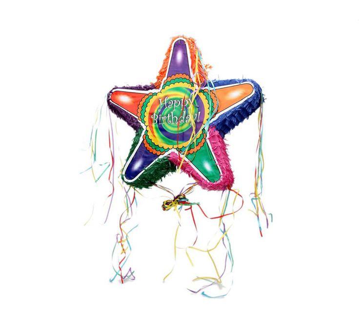 Piñata de Cumpleaños en forma de Estrella multicolor de 52 cm.