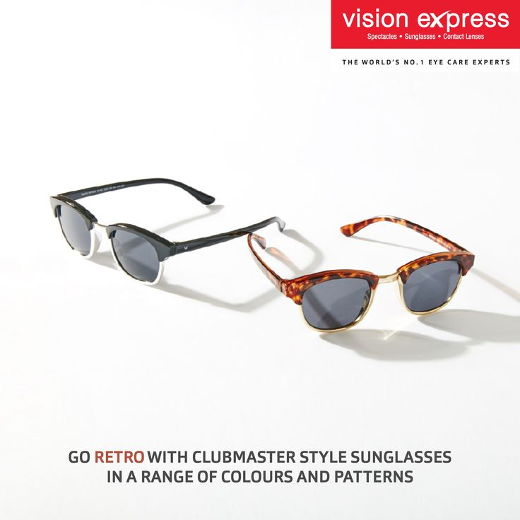 This summer, stay trendy with these latest Clubmaster style sunglasses. Get them in your favorite tints and patterns from your nearest Vision Express store.   #Sunglasses #Style #Eyewear #EyeFashion #EyeGlasses #EyeStyle #Shades #FashionSunglasses #Sunglassesforhim #sunglassesforher #latestsunglasses #clubmasters