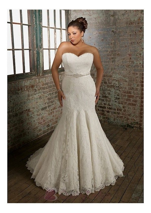 The bridal dress features strapless sweetheart neckline and mermaid skirt.It is detailed with lace appliques,beadings and manmade diamonds.The level back decorated with satin bow sash is lace-up design.    Back: Lace up  Fabric: Lace  Hemline: Full length  Neckline: Sweetheart  Silhouette: Mermaid  Sleeves: Sleeveless  Train: Chapel  Waist: Dropped