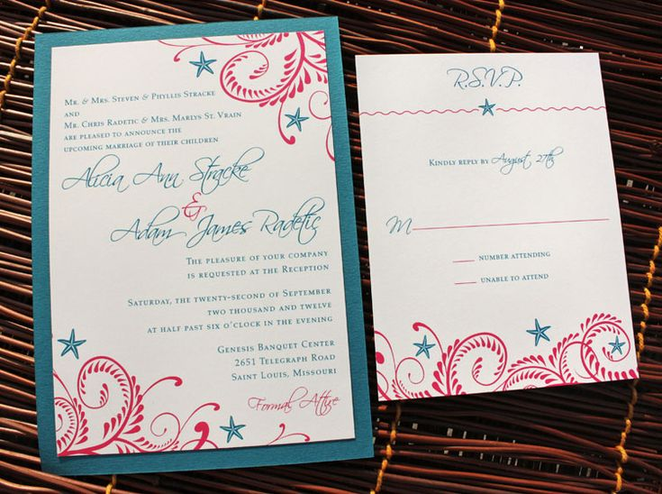 Coral And Teal Wedding Invitations: Wedding Invitation In Teal And Fuschia