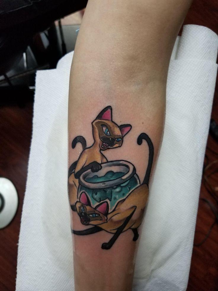 Siamese cats tattoo