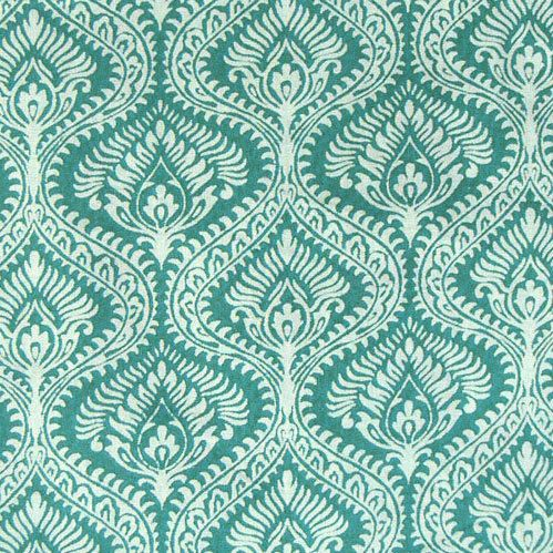 hand printed cotton fabric - Teal and White Indian print - 1 yard ctjp066