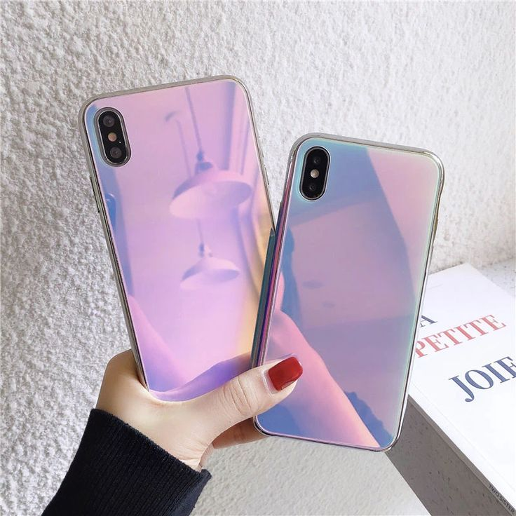 Iridescent rainbow laser glass phone casecover for iphone