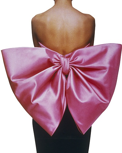 "Yves Saint Laurent, Black velvet sheath dress, ""Paris rose"" satin bow, ""Paris"""