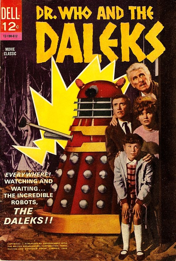 Cover artwork for Dr. Who and the Daleks, a comic book adaptation of Peter Cushing film of the same name, based upon the characters originated by the British Broadcasting Corporation and Terry Nation, published by Dell Comics, United States, 1966, by Dick Giordano (interior).