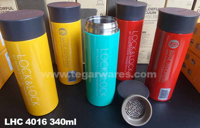 Exclusive thermo bottles Lock & Lock 4016 LHC 340ml capacity is available in three colors: yellow, blue and red. The ideal choice for a company's exclusive souvenirs. as looks above tumbler Lock n Lock LHC4016 ordered by Bank Indonesia Kediri East Java Branch. has also been ordered by Keluarga Besar Departemen Pengelolaan Sistem Informasi Group Pengelolaan Sistem Informasi Bank Indonesia - DPSI GPSI BI Family, Jakarta.