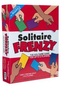 February 2016 - What I'm Playing - Board Games - Solitaire Frenzy - I like this so much better than traditional Solitaire. It is definitely more challenging trying to play off everyone else's cards, but it teaches you eye/hand coordination and memory skills. (not an affiliate link, endorsement, or sponsorship) #Boardgames #FamilyNight #Games