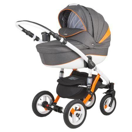 Коляска Adamex Barletta Rainbow серый+оранжевый  — 25700р. ----- Модульная коляска Adamex Barletta включает в себя люльку и прогулочный блок, поэтому подойдет для детей с первых дней жизни до трех лет. Коляска приспособлена к прогулкам в любое время в любых дорожных условиях. Ее крепкая рама из металлического сплава имеет большие надувные колеса с добротными пружинными амортизаторами, при этом передние поворотные колеса упрощают управление - коляску легко развернуть на одном месте, катить…