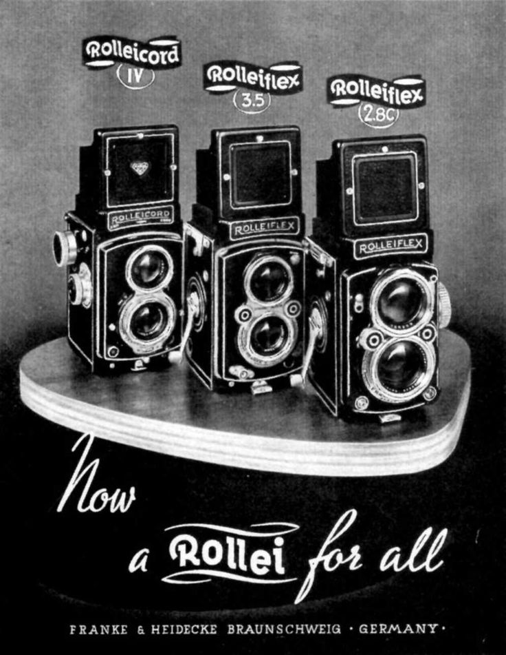 Rolleiflex is actually a series of cameras first produced in 1929, by German camera company Franke and Heidecke. Via http://boingboing.net