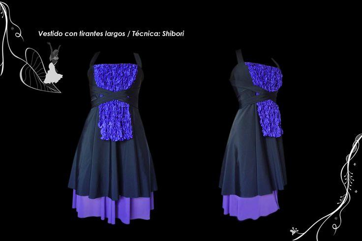 Vestido pechera textura shibori.