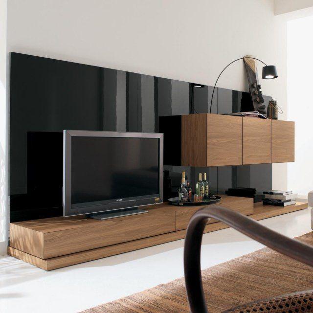 meuble TV en bois et panneau noir laqué de design moderne