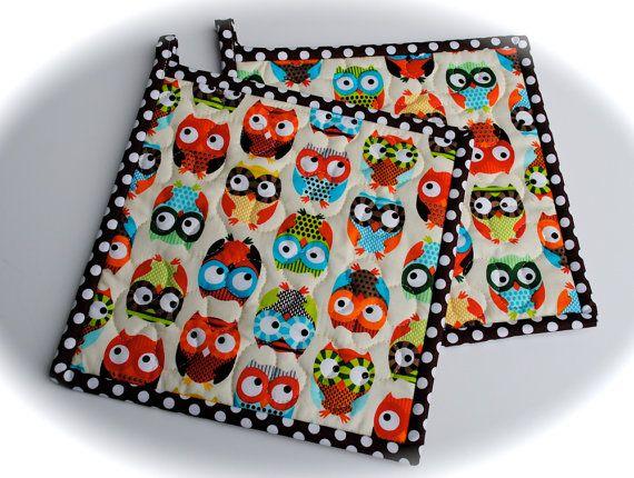 Owl Potholders, Quilted Potholders, Fabric Potholders, Set of 2 on Etsy, $13.00
