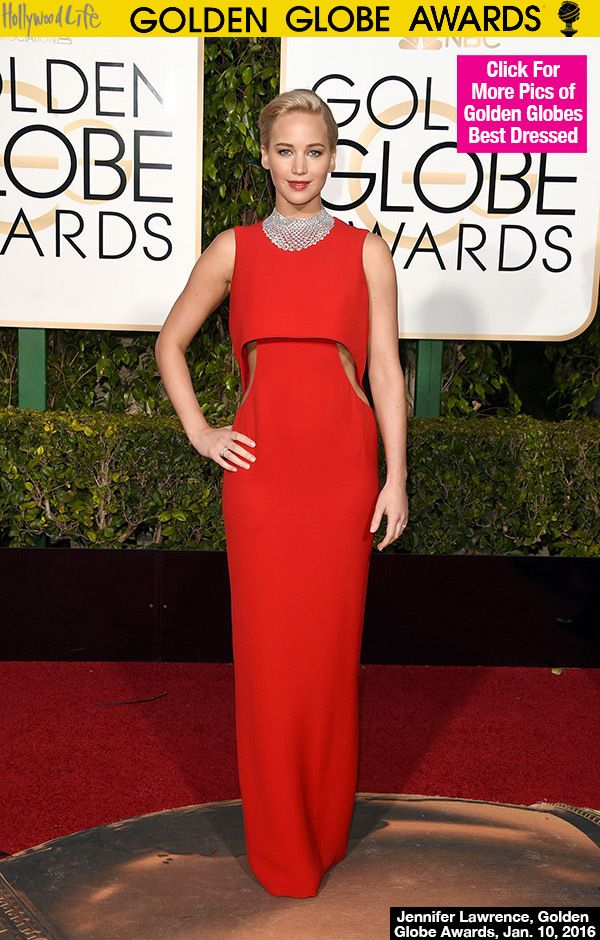 Jennifer Lawrence Rocks Red Dress With Cutouts At Golden Globes