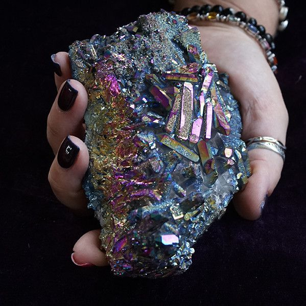 This large Rainbow Titanium Quartz cluster will deepen your spirit connection and enhance your inner vision. 4.5″