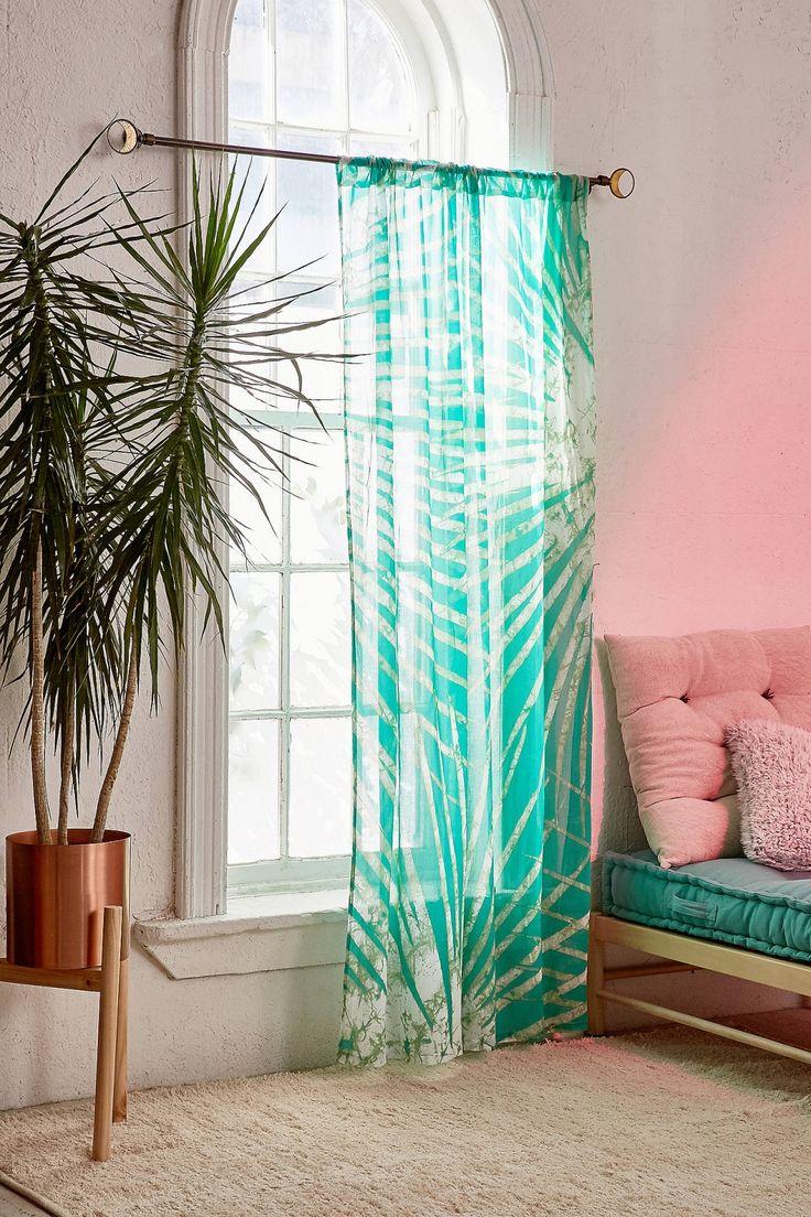Window curtain - Batik Palm Print Window Curtain
