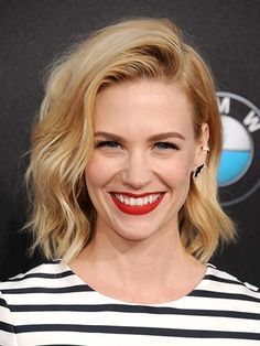 7 easy ways to style midlength hair: January Jones's messy, Debbie Harry-esque side-swept waves with red lipstick | allure.com