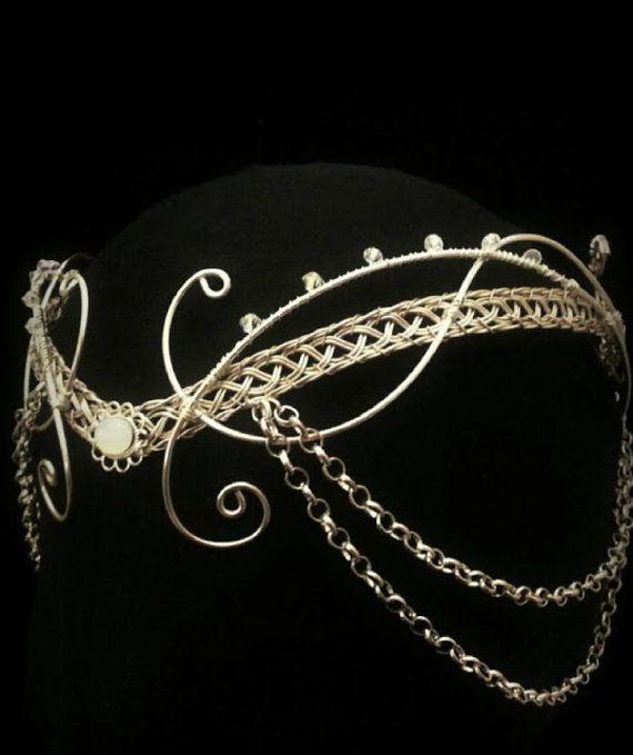 mittelalterliche Mondstein Kopfschmuck Silber von ElvenstarDesign