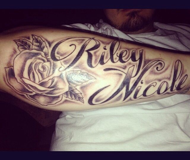 Forearm tattoo with my sons name tho