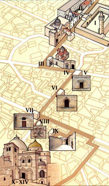 Via Dolorosa, The Way of Suffering. The path Jesus took to Golgotha.
