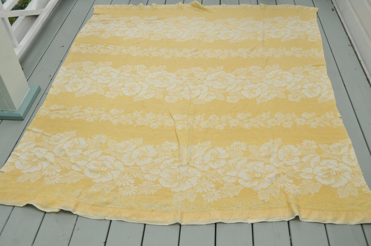 Vintage Yellow Cotton Blanket Roses Cottage Shabby Chic