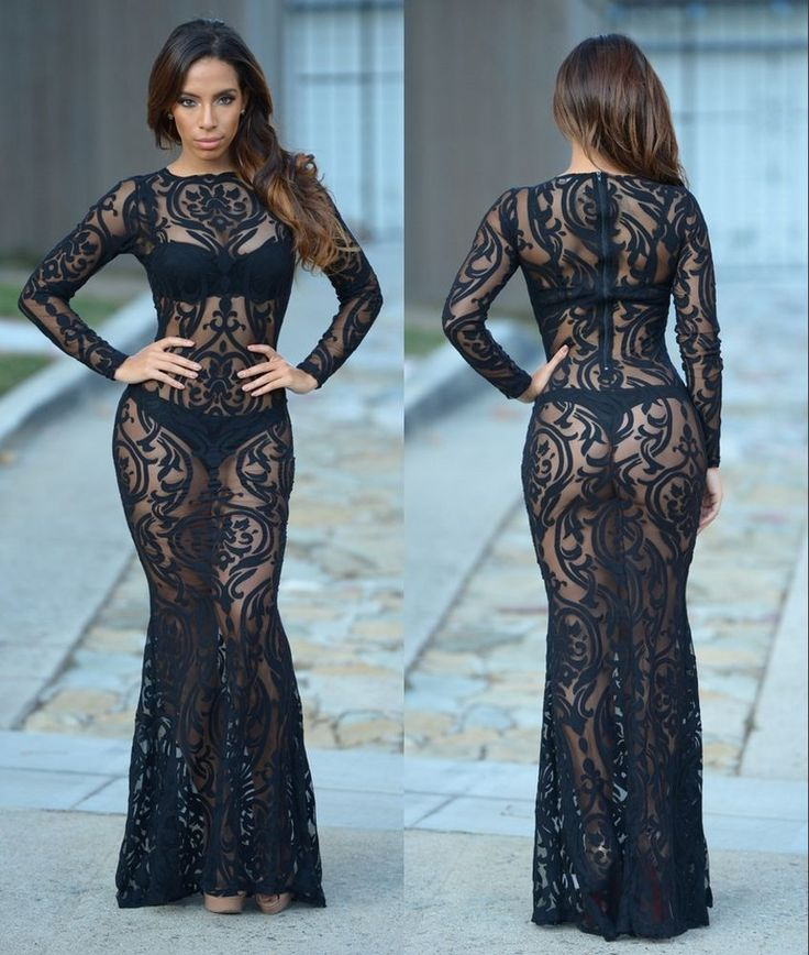 Sexy Lady Embroidery Mesh See Thru Bodycon Mermaid Long Gown Maxi Prom Dress #Bellyanna #StretchBodycon #Cocktail