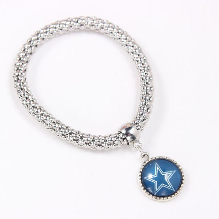 Dallas Football Cowboys Bears Falcons Bracelet Glass Snap Charms Jewelry Silver Elasticity Popcorn Chain Bracelet&Bangle