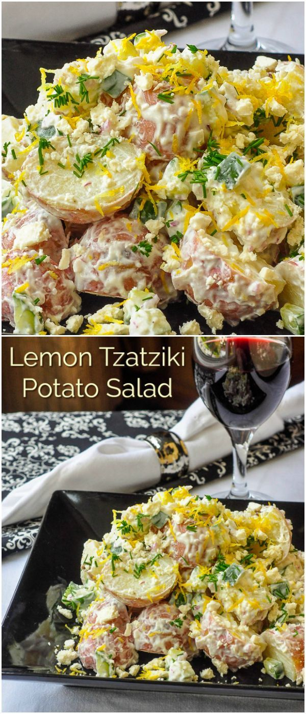 Lemon Tzatziki Potato Salad – a fantastic, low-fat potato salad that uses low fat yogurt in place of mayonnaise for a tasty,  Greek inspired flavour twist. : rockrecipes
