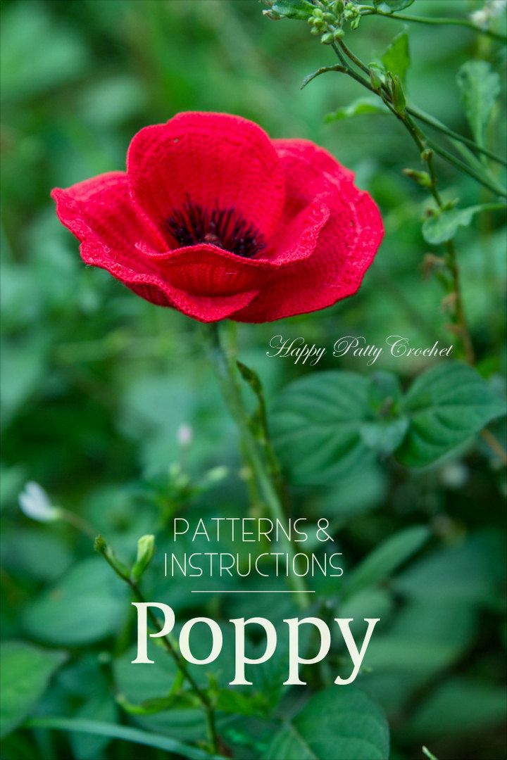 Crochet Poppy Pattern Crochet Flower Pattern by HappyPattyCrochet