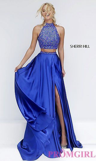 Long High Neck Two Piece Sherri Hill Dress with Side Slit at PromGirl.com