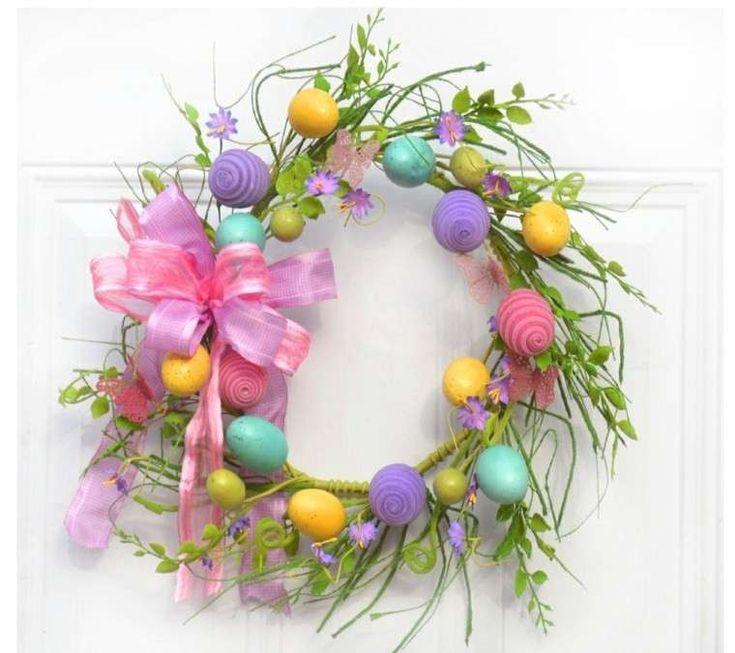 Decorazioni per Pasqua - Ghrilanda con fiori e uova