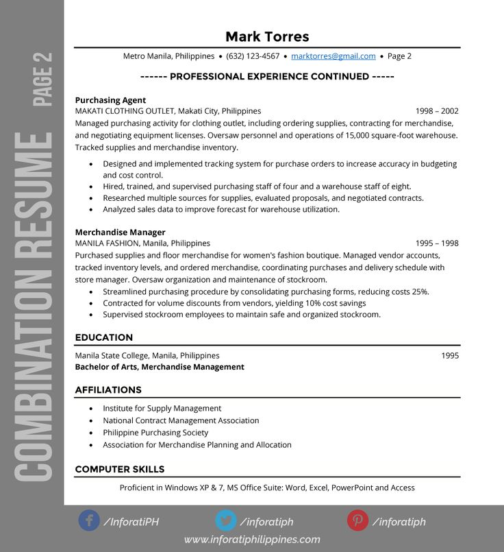 103 best Resumes \ CV images on Pinterest Philippines, Resume - combination resume format