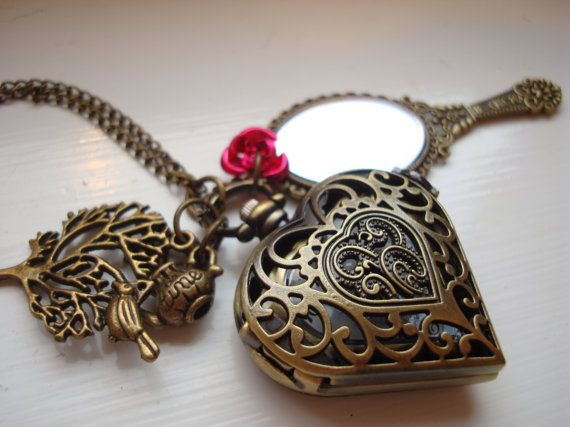 Beauty and The Beast Pocket Watch Antique Gold Mirror Necklace