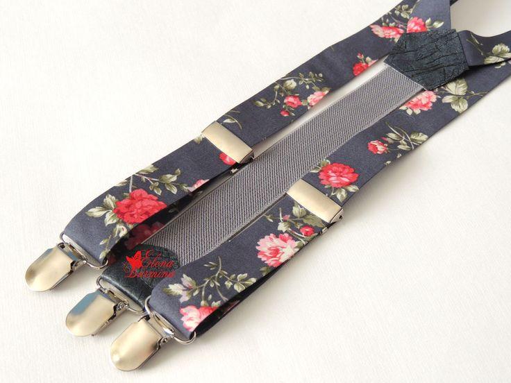 Купить Комплек подтяжки+бабочка серые с розами, хлопок - серый, цветочный, роза, розы, цветы