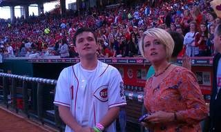 Josh Hutcherson with Mama Hutch at the Reds game today (3/7)