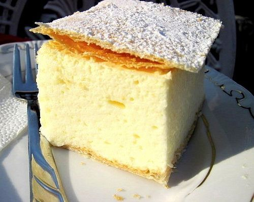 "Kremes. The most popular Hungarian pastry, called ""Creamy"". It's a light & fluffy custard cream mixed with egg whites."