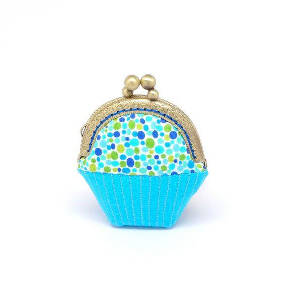 Whimsical blue cupcake mini coin purse