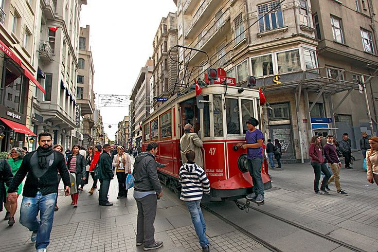 PHOTO: Trolley on Istiklal Avenue in Istanbul runs between Taksim Square and Galata Tower