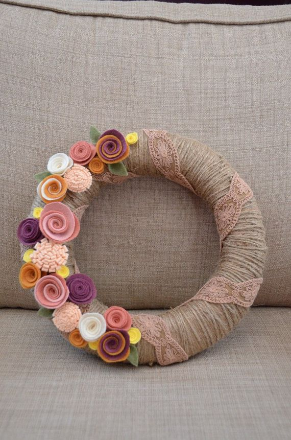 Yarn Wreath - EVERYDAY - RUSTIC - COTTAGE - 12 inch Twine Covered Straw Wreath with Felt Flowers and Ribbon Accent