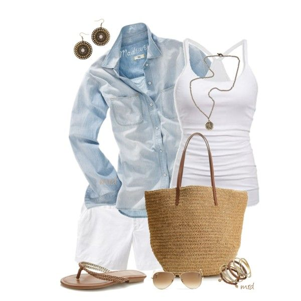 Summer Outfit: Casual Outfit, Summer Outfit, Fashion Ideas, Summer Style, Night Outfit, Beaches Outfit, Denim Shirts, White Outfit, Fashionista Trends