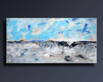Decoración de pared de 48 x 24 gris negro blanco azul pintura Original lienzo arte contemporáneo moderno arte abstracto pintura abstracta - Unstretched - 05C